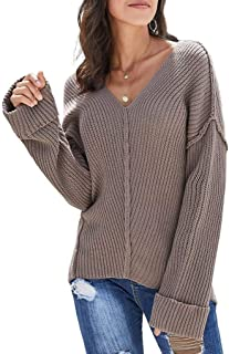 PARICI Women's Off Shoulder Textured Pullover Sweater Sexy V Neck Knit Blouse Batwing Sleeve Top