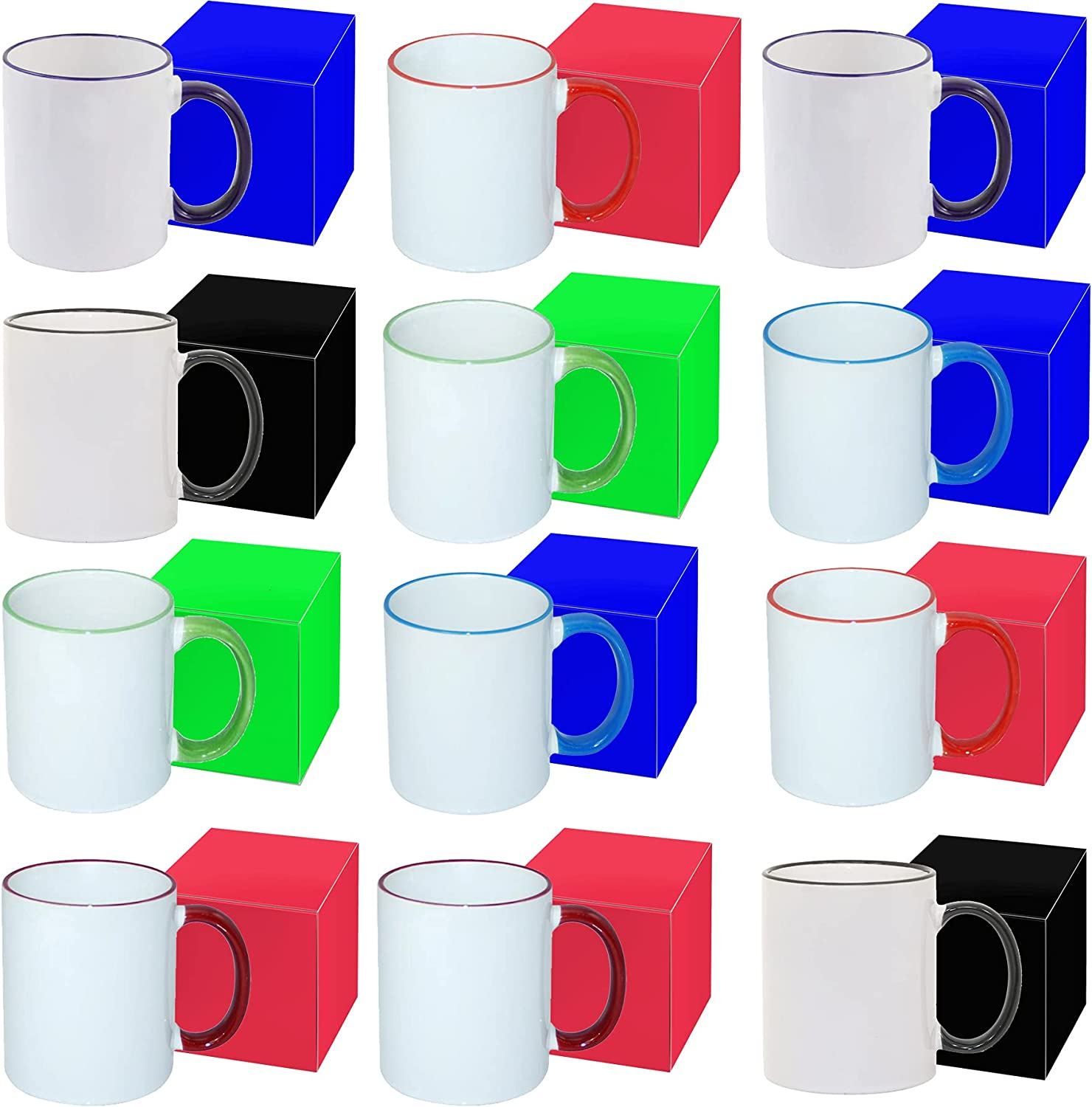 Set of 12 Pack 11OZ MIXED Coated Mug Max 69% OFF All stores are sold RIM Sublimation Handle
