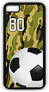 iPhone 8 Case Soccer SC057Z Choice of Any Personalized Name or Number Tough Phone Case by TYD Designs in Black Plastic and Black Rubber with Team Jersey Number 80