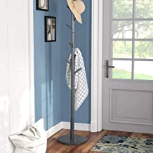 Vlush Wooden Coat Rack Free Standing, Coat Hat Tree Coat Hanger Holder Stand with Round Base for Clothes,Scarves,Handbags,...