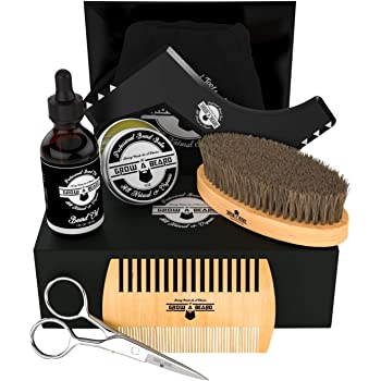 Beard Kit 6-in-1 Grooming Tool | Best Mustache & Beard Care Set For Men | Natural Balm, Unscented Oil, Boar Bristle Brush, Wood Comb, Trimming Scissors, Shaper Template | Great Male Gift Idea