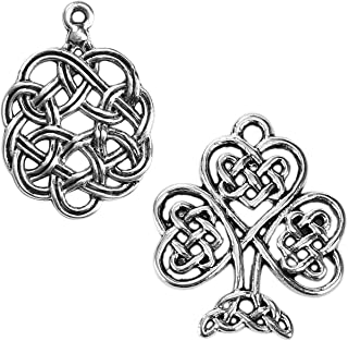 Celtic Charms, 96 pc (48 of Each) Antiqued Silver Tone Pendants, Knot and Tree of Life