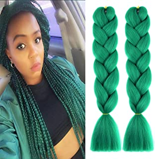 MSCHARM 5Pcs 100g/Pcs Synthetic Braiding Hair Extensions 24 Inch Ombre Jumbo Fiber Braiding Hair Extensions for Daily Life or Party Use(Deep Green)