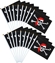 Elcoho 50 Pack Pirate Stick Flag Jolly Roger Stick Flag for Pirate Day or Halloween Decoration, 8.2 x 5.5 Inch