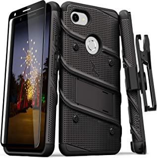 ZIZO Bolt Series Google Pixel 3a Case   Heavy-Duty Military-Grade Drop Protection w/Kickstand Included Belt Clip Holster Tempered Glass Lanyard (Black/Black)
