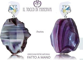 Orecchini Pietre Naturali Ametista - Realizzati a Mano - Made in Italy-HandaMade-Regali ragazza-Prodotto Artigianale-idee ...