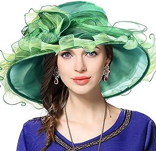 04a36838 Kentucky Derby Hat Wide Brim Flounce Cocktail Tea Party Bridal Dress Church  Hat