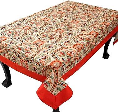 Bilberry Furnishing By Preeti Grover Kalamkari Summer Designed Multicolour Cotton Dining Table Cloth for 6 Seater , Orange