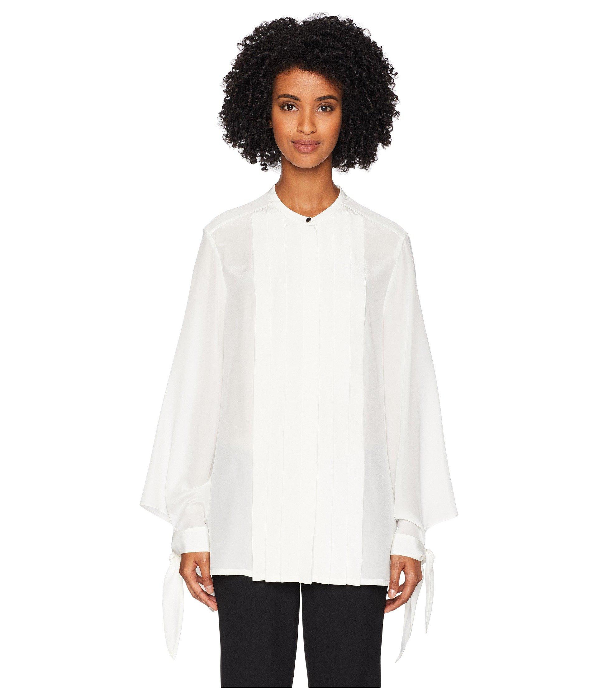 Front Long white Nichali Blouse Sleeve Pleated Escada Off qtEfOx