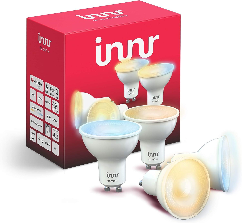 Innr GU10 LED spot, conectada, 2200K - 5000K, compatible with Philips Hue* (Puente requerido) & Echo Plus, ajustable en blanco, 4-Pack, RS 229 T-4