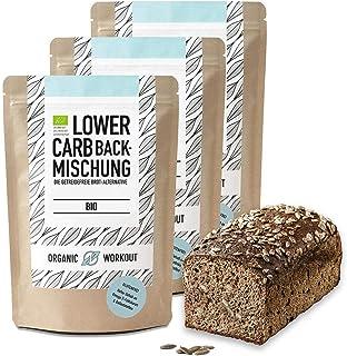 Organic Workout LOWER-CARB-BACKMISCHUNG 3er Pack – Bio, vegan, glutenfrei, Eiweiss-Brot-Alternative, ballaststoffreich, ohne Zuckerzusatz, ohne Getreide, hergestellt in Deutschland
