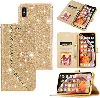 Xmax Case Wallet Compatible with Apple iPhone Xs max Cases Flip Folio [Kickstand Feature] PU Leather Smax Cover Glitter Xmas Xphone X with ID&Credit Card Pockets for lphone xsmax 6.5 inch (Gold)