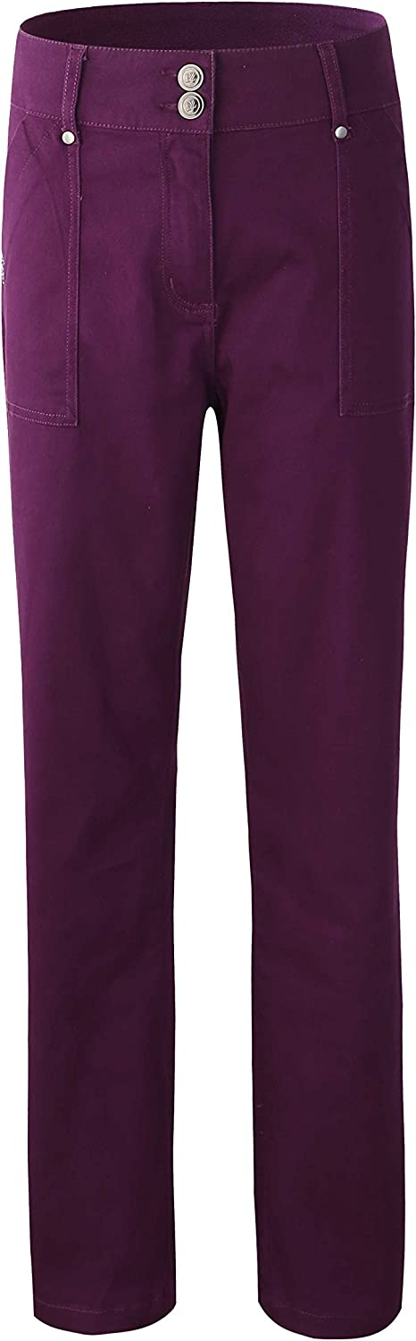 Bienzoe Women's Fashion Causal Twill Stretch StraightLeg Pants