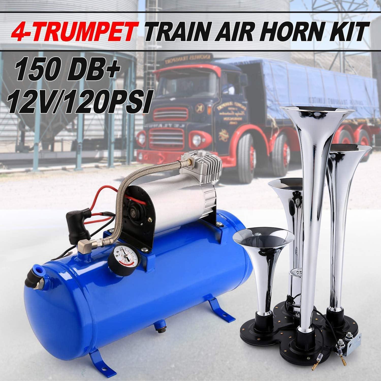 Air Horn 4 Trumpet 12 Volt Compressor Hose 150 dB Train 120 PSI Kit Truck