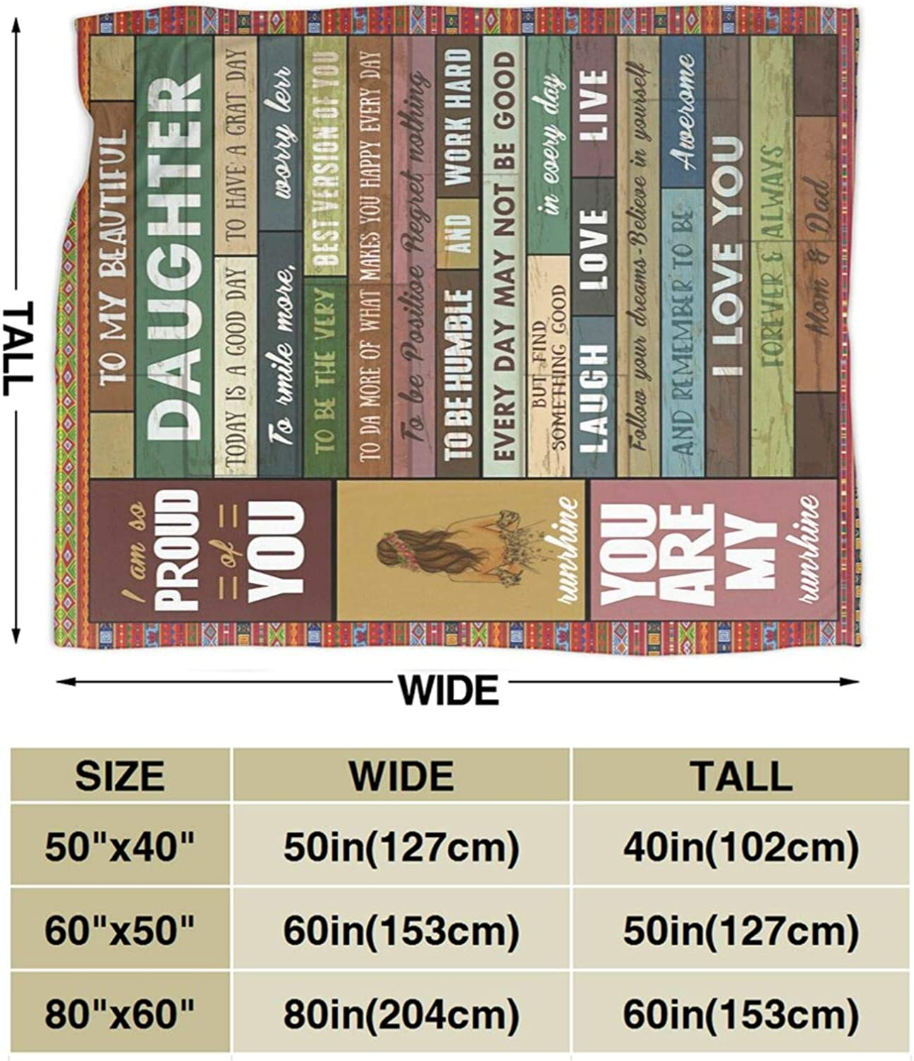 Carwayii Love Letter to My Daughter Flannel Blanket Ultra Soft Fleece Throw Blanket Lightweight Warm Bed Cover Warm Vintage Gift Lap Blanket for Couch Bed Car Sofa Blanket for Women Girls Kids S-40x50