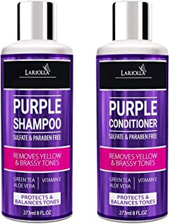 (2-PACK) Purple Shampoo and Conditioner Set for Blonde Hair - Blonde Shampoo for Silver & Violet Tones - Instantly Eliminate Brassiness & Yellows - Bleached & Highlighted Hair - Made in USA - 8oz