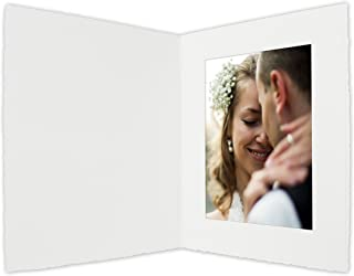 Golden State Art, Acid-Free Photo Folders for 5X7 Picture,Pack of 25 White Cardboard/Paper Frames,Great for Portraits and Photos,Special Events: Graduation,Wedding,Baby Shower,PF050