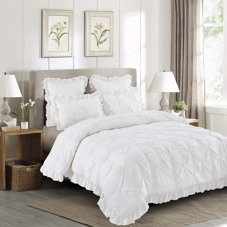 HIG 5 Piece Comforter Set Queen-Ivory Ple Max 63% OFF sale Color Microfiber Pinch