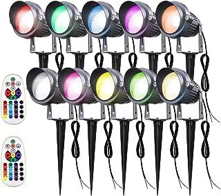 Sunriver LED Landscape Lights, Remote Control 6W RGB Color Changing Landscape Spotlights Lighting 12V 24V Low Voltage Waterproof Garden Pathway Lights for Outdoor Decor (10Pack)