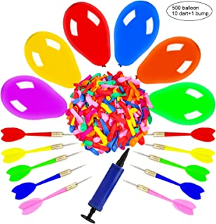 OOTSR Dart Balloon Game Set Includes 500 Balloons & 10 Darts Plus Pump - Exciting Outdoor Game for Children & Adults, Best Carnival, Birthday Party & Backyard Fun