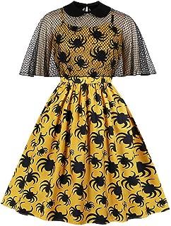 Women Hepburn Spider Print Trim Swagger Skirt Round Collar Retro Dress