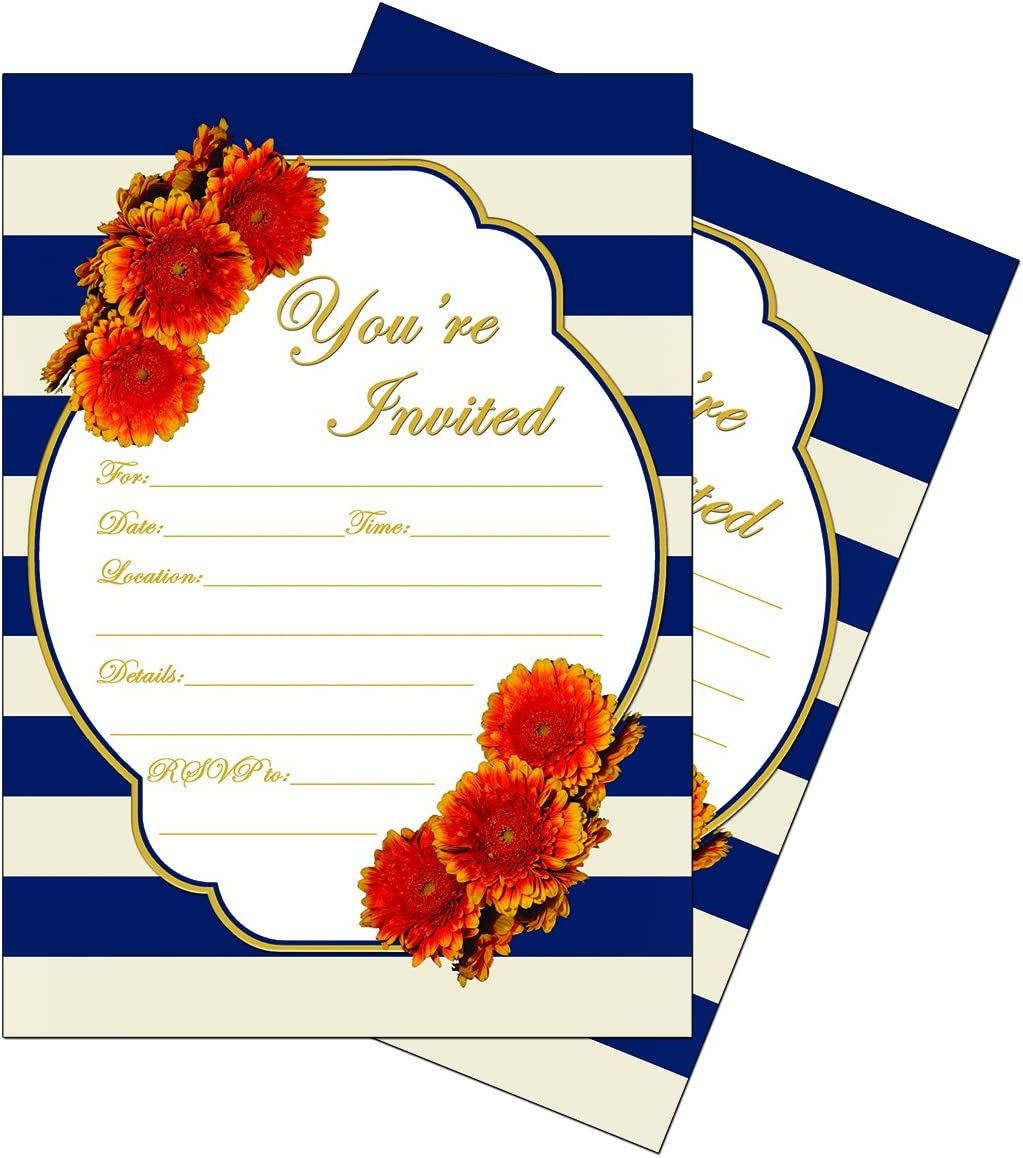 50 - Navy Royal Blue 5x7 Invitations Duty Super sale period limited s Postcard Easy-to-use Heavy for