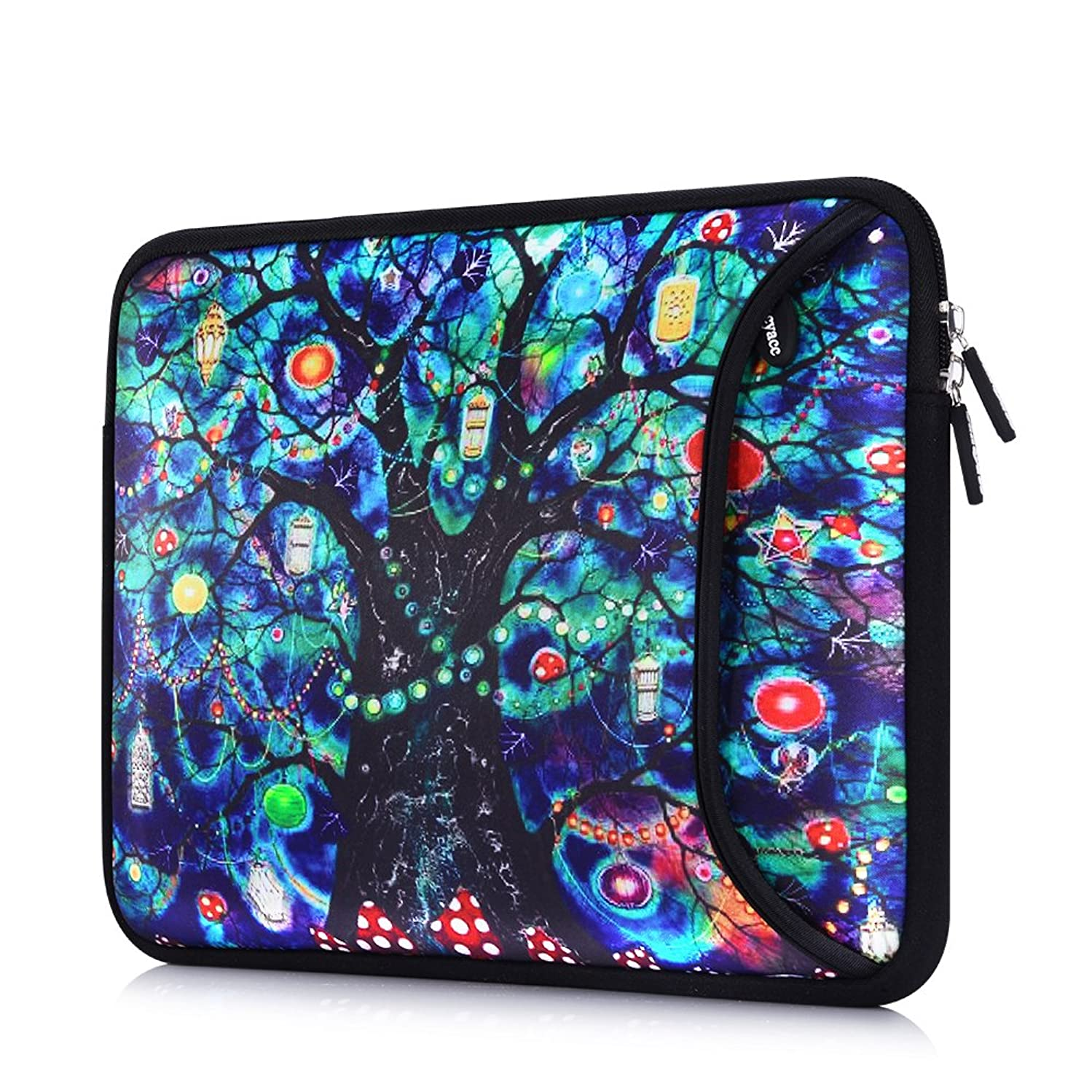 Sancyacc Laptop Sleeve, Water-Resistant Sleeve Bag Cover 15-15.6 Inch, Neoprene Laptop Bag Case, Full Protective Carrying Notebook Pocket for MacBook Air/Pro (Lifetree)