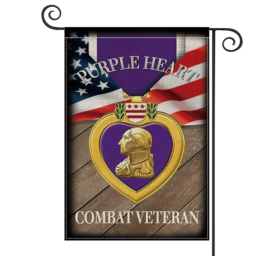 AVOIN colorlife Brave Service Purple Heart Medals Garden Flag Vertical Double Sided Combat Veteran, Wood Mini Flag Honor USA American Military Veteran Memorial Yard Outdoor Decoration 12.5 x 18 Inch