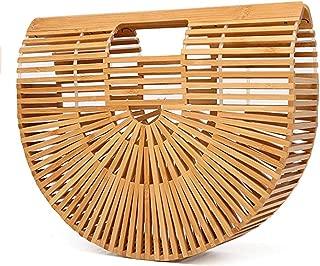 Summer Bamboo Beach Bag Wooden Handmade Tote Womens Straw Tote Bag Womens Basket Bag Large Tote Bag Beach Bag for Women