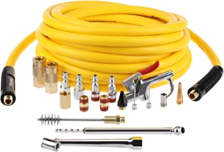 Hromee 3/8 Inch x 25FT Hybrid Air Compressor Hose with 19 Piece Air Blow Gun and Air Compressor Accessories Kit, 1/4 Inch NPT Quick Connect Air Hose Fittings, Tire Gauge and Wire Brush