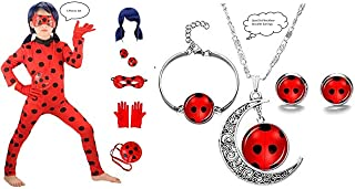 Qfeng Ladybug Miraculous Cosplay for Girls Women Halloween Cartoon Party Cosplay Costume RolePlay Set (L For Child)