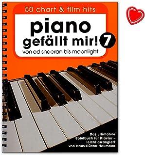 Piano gefällt mir. 50Chart y película Hits–7–de banda de Ed Sheeran hasta Moon Light–La última parte libro para Piano–Libro de ordenador con Bunter herzförmiger Ordenador Pinza