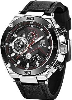 Benyar Montre chronographe étanche à grand cadran pour homme avec bracelet en cuir