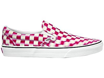 Vans Classic Slip-On ((Blur Check) True White/Red) Skate Shoes