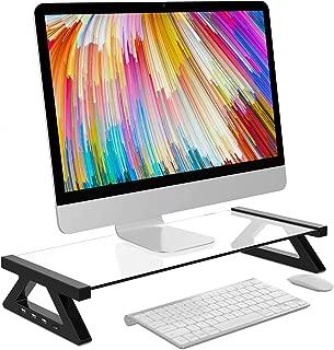 モニター台 デスクボード USBポート付き ガラス天板 キーボード収納 机上 卓上 (透明)