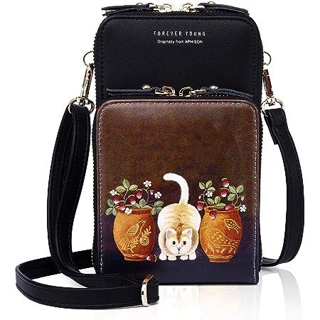 APHISON Damen Handy Umhängetasche Kleine handytasch Schultertasche Frauen Brieftasche Cartoon Cross-Body Tasche PU-Leder RFID Schutz Geldbörse Mini-Tasche (1910-054)