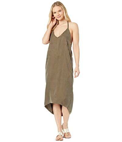 American Rose Jade High-Low Halter Slip Dress (Olive) Women
