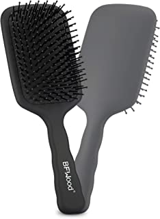 BFWood Cepillo de pelo con paleta desenredante grande, ideal para cabello húmedo o seco, para mujeres, hombres y niños, No más pelo enredado(negro mate)
