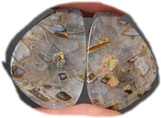 RASIO Palo Ágata Cabujón Par, Stick Ágata Gemstone, Forma de pera Natural Stick Ágata, 24Ct, 20x14mm K-03021