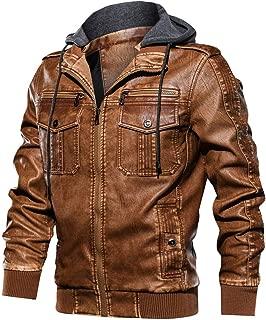 Sunward Men's Imitation Leather Coat Autumn Winter Vintage Zipper Hoodie Fashion