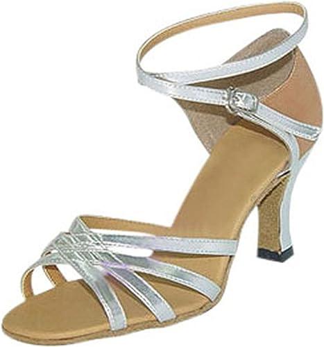 LEIT YFF Cadeaux Femmes Dance Danse Danse Latine Dance Tango Chaussures 8CM,argent,40
