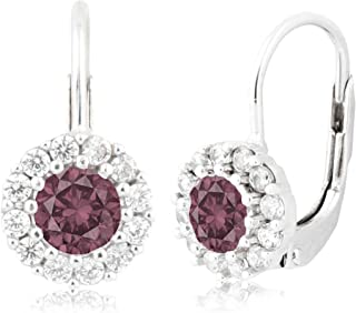 UNICORNJ Sterling Silver 925 Halo Leverback Birth Month Earrings with CZ Italy 4mm