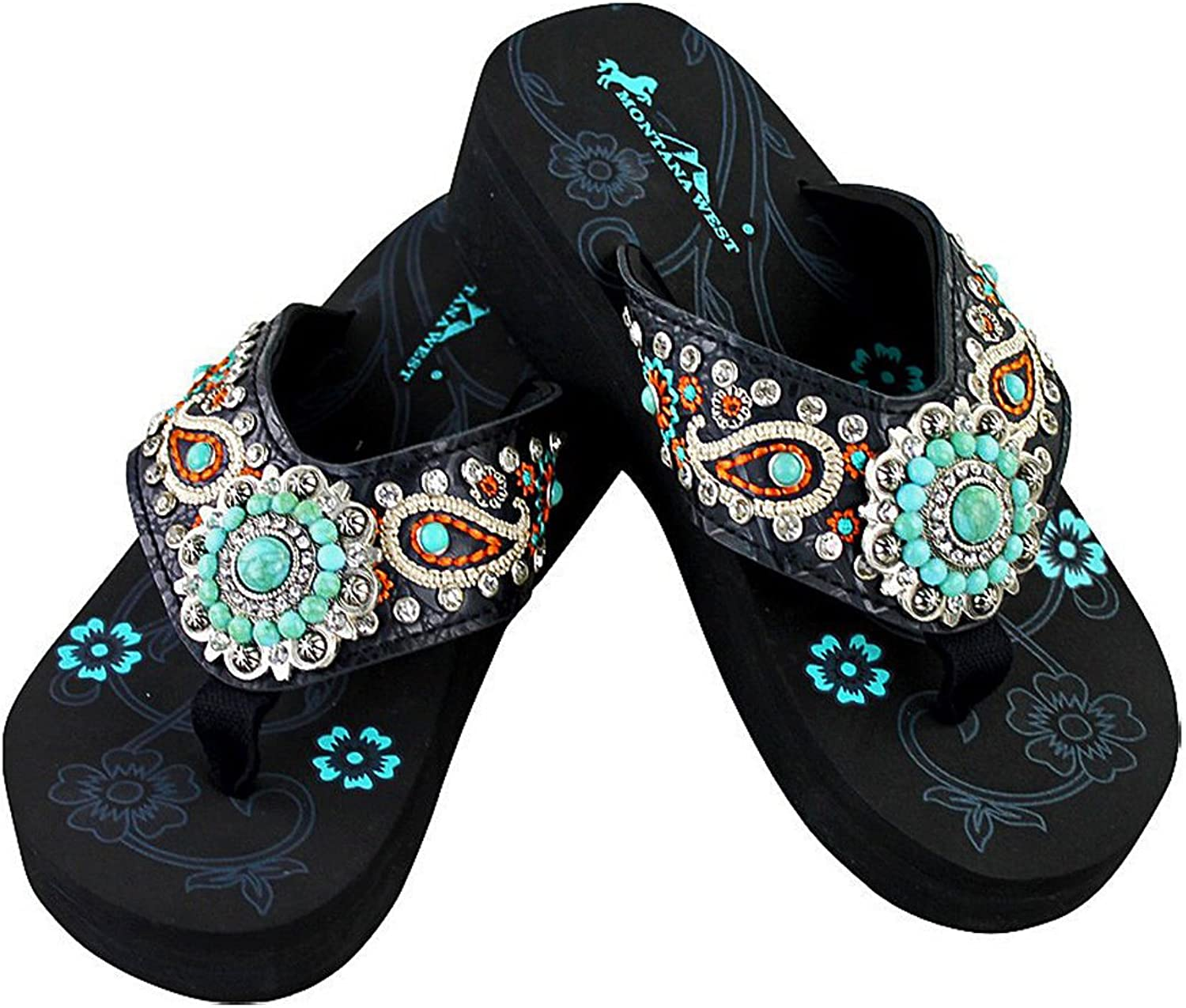 Montana West Embroidered Paisley Wedge Flip Flops, Sizes 6-11 - Black(10)