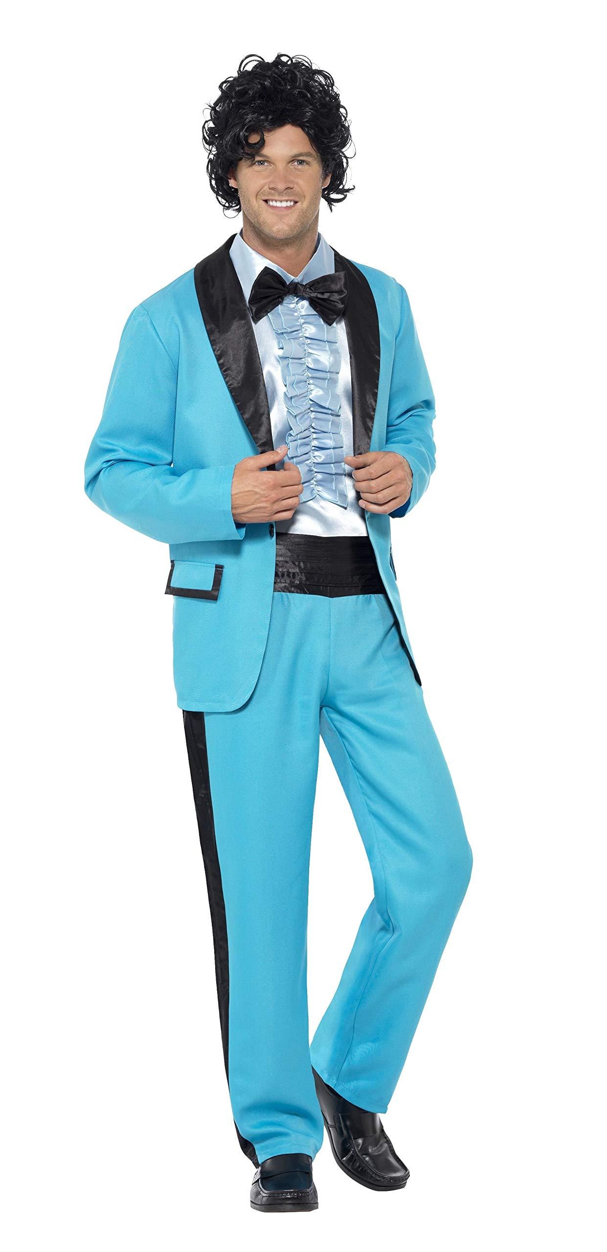 Smiffys-43194L Traje del Rey del Baile de los 80, con Chaqueta, Pantalones y Falsa Camisa Esmoquín, Color Azul, L-Tamaño 42