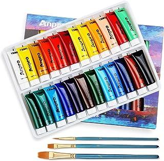Anpro Lot de 24 tubes de peinture acrylique de 15 ml avec 3 pinceaux, convient pour la pierre, le bois, la céramique, le t...