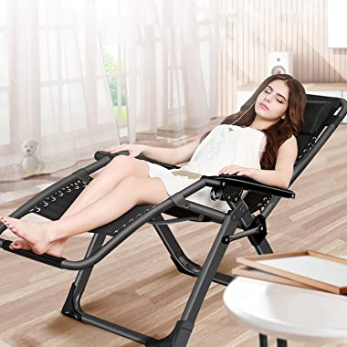 Oversized Zero Gravity Chair, Lawn Recliner, Reclining Patio Lounger Chair, Folding Portable Chaise, with Detachable Soft Cus