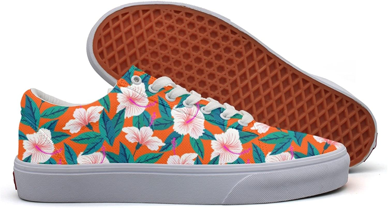 Charmarm Tropical Pattern With White Hibiscus Flowers Womens Cute Low Top Canvas Walking shoes