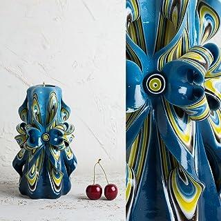 Candela Intagliata - Azzurra Con Fiori Colori Splendenti - Arredo Interno Esclusivo Decorato A Mano - EveCandles