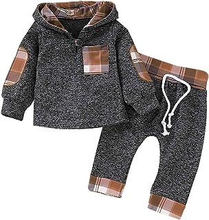 SANMIO Bluza z kapturem dla chłopców i dziewczynek, zestaw odzieży, klasyczna bluza w kratkę + spodnie outfit