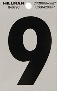 The Hillman Group 840796 3-Inch Black on Silver Reflective Square-Cut Mylar House, Number 9